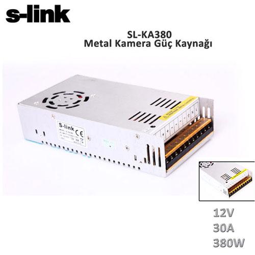 S-LINK SL-KA380 12V 30A 350W Metal Güvenlik Kamera Adaptörü