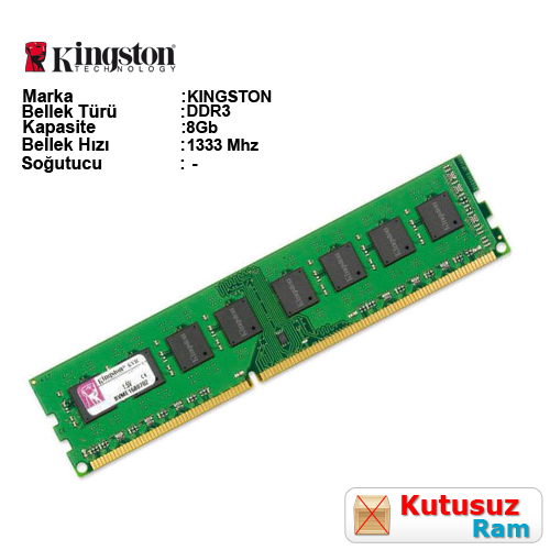 KINGSTON 8GB 1333Mhz DDR3 CL9 Pc Ram KVR1333D3N9/8