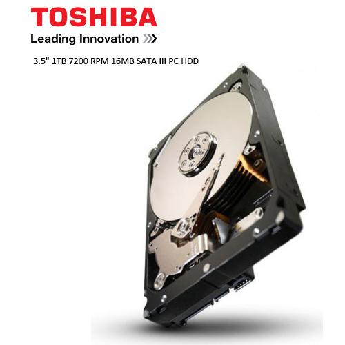 TOSHIBA 3.5 1TB 7200 RPM 16MB SATA3 PC HDD DT01ACA100