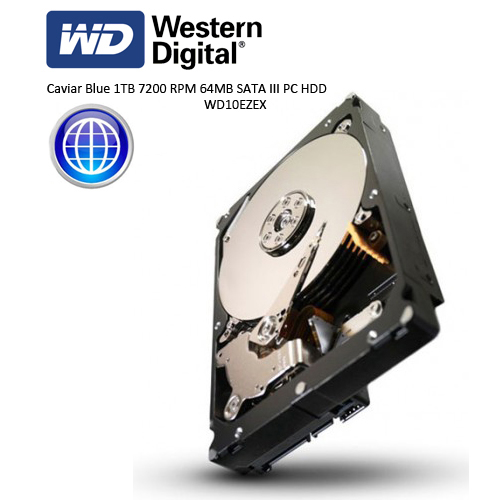 WD 3.5 Blue 1TB 7200 RPM 64MB SATA3 PC HDD WD10EZEX