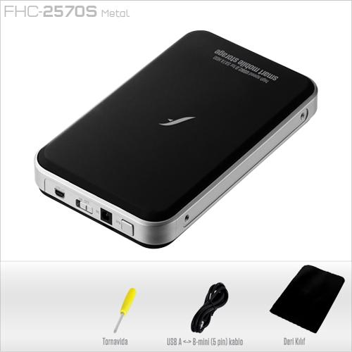 FRISBY 2.5 FHC-2570S (Backup Tuşu) Sata Usb 2.0 Aluminyum Harddisk Kutusu Siyah