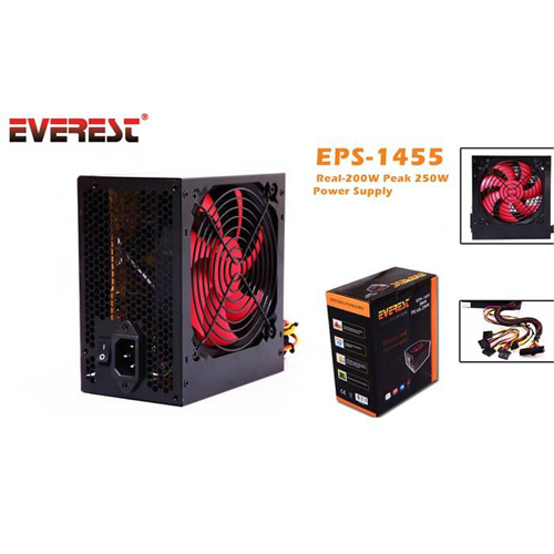 EVEREST EPS-1455 250W PEAK Atx Power Supply 12 Cm Fan Retail Box (Kutulu)