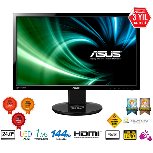 ASUS 24 VG248QE 1Ms M.M DVI+HDMI Full HD Led Monitör Siyah