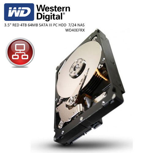 WD 3.5 RED 4TB INTELLIPOWER 64MB SATA3 NAS HDD WD40EFRX (7/24)