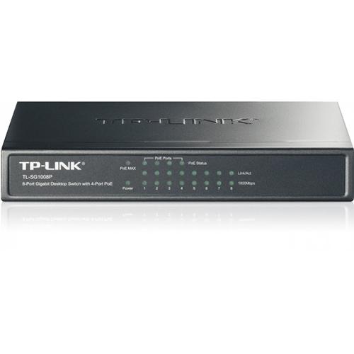 TP-LINK 8 Port TL-SG1008P 10/100/1000 4x POE PoE Switch (Siyah Çelik Kasalı)