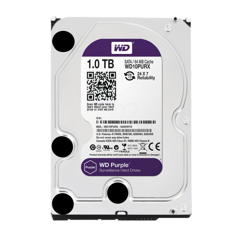 WD 3.5 DV PURPLE 1TB 64MB SATA3 PC HDD WD10PURX (Güvenlik 7/24)