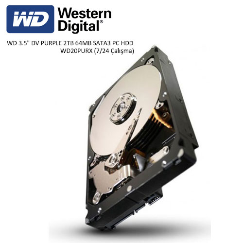 WD 3.5 DV PURPLE 2TB 64MB SATA3 PC HDD WD20PURX (Güvenlik 7/24)