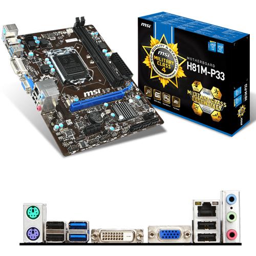 MSI INTEL H81M-P33 H81 DDR3 1600 VGA GLAN 1150p
