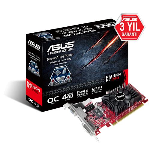 ASUS AMD 4GB R7 240 DDR3 128 Bit R7240-OC-4GD3-L HDMI DVI-D