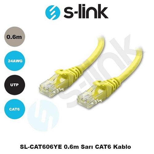 S-LINK SL-CAT606YE Cat6 Utp ( 0.60 Cm ) Sarı Patch Kablo