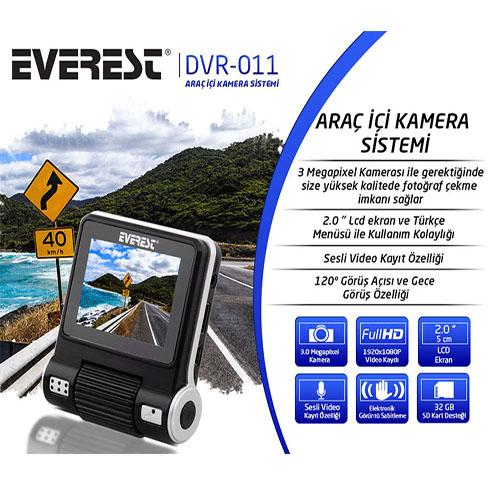 EVEREST DVR-011 1920x1080P Tek Kameralı Sesli 2 Lcd Ekran Gece Görüşlü Araç İçi Kamera
