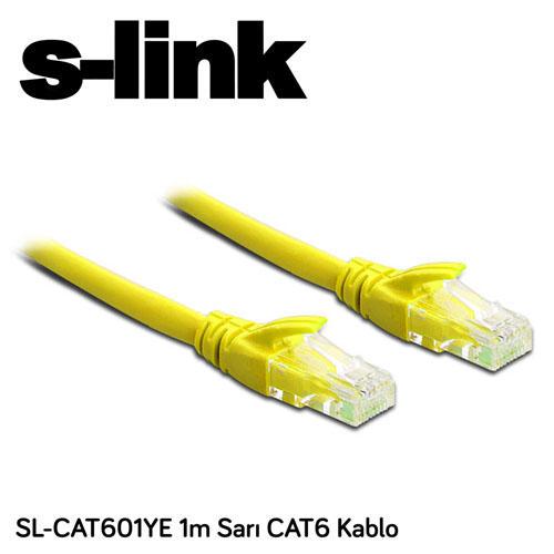 S-LINK SL-CAT601YE Cat6 Utp ( 1 Metre ) Sarı Patch Kablo
