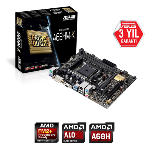 ASUS AMD A68HM-K A68 DDR3 2133 VGA GLAN Raid 0,1,5 16x FM2+