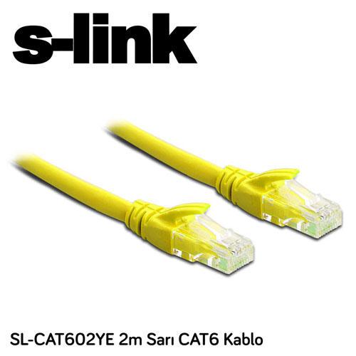 S-LINK SL-CAT602YE Cat6 Utp ( 2 Metre ) Sarı Patch Kablo
