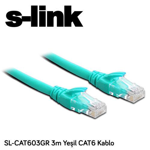 S-LINK SL-CAT603GR Cat6 Utp ( 3 Metre ) Yeşil Patch Kablo