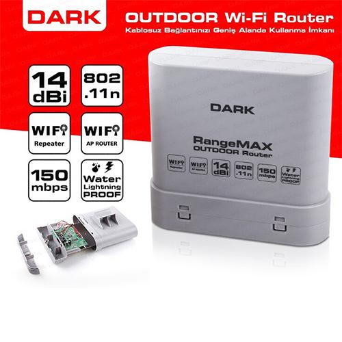 DARK Range MAX DK-NT-WRT150D14 150Mbit 802.11n 14dBi Antenli OUTDOOR (Dış Cephe) Router Suya ve Yıldırıma Dayanıklı