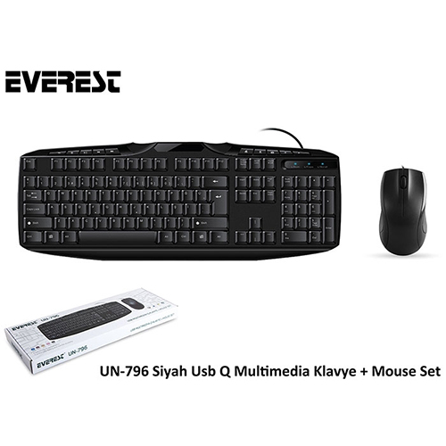EVEREST UN-796 Q Usb Siyah Klavye/Mouse Set