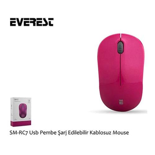 Everest SM-RC7 Usb Şarj Edilebilir Kablosuz Pembe Mouse