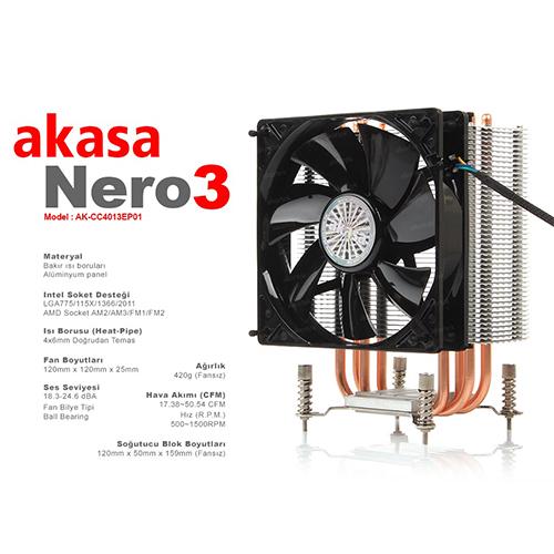 AKASA Nero 3 AK-CC4013EP01 İntel / Amd Full Alüminyum 12 Cm Fan İşlemci Fanı