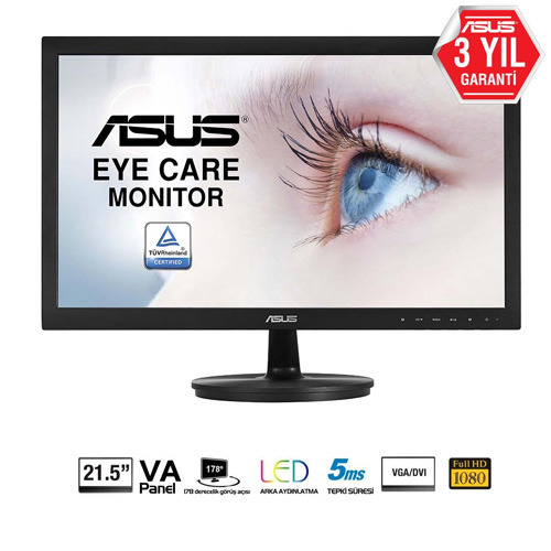 ASUS 21.5 VS229NA 5Ms DVI-D Led Monitör Siyah