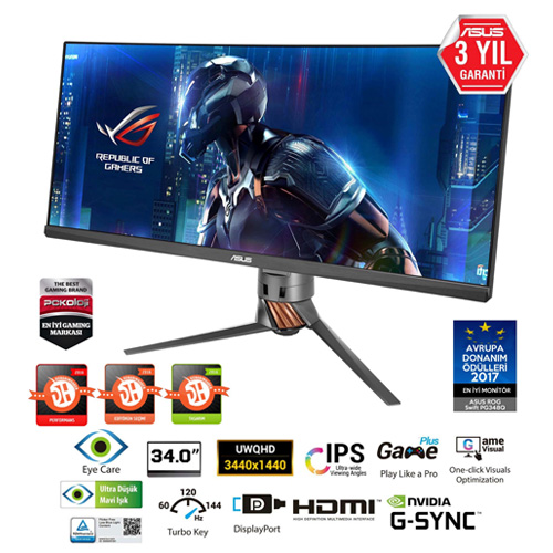 ASUS 34 PG348Q 5Ms 100Hz M.M D-SUB+HDMI+USB Curved Led Monitör Siyah