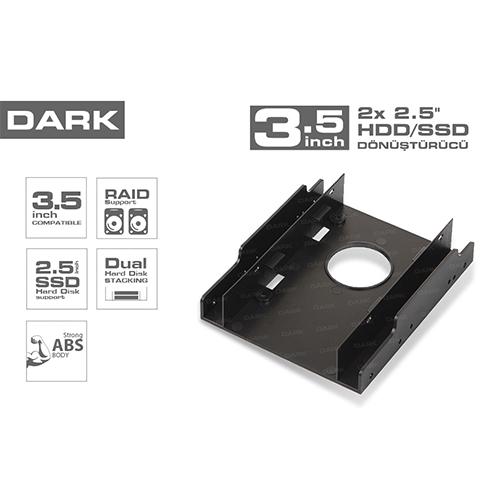 Dark DK-AC-DA35X25 2x2.5HDD/SSD Çift Yuvalı3.5 dönüştürücü