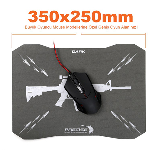 Dark Precise Serisi DK-AC-MPAD01 (350x250mm) Sert Yüzeyli Yüksek Lazer Performanslı Oyuncu MousePad