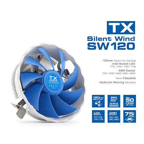 TX Silent Wind 120 TXCCSW120 Alüminyum İşlemci Soğutucusu