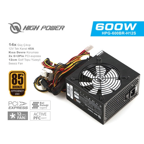HIGH POWER Element Bronze HPG-600BR-H12S 600W 85+ Bronze 45A Single Rail 12 Cm Fan Aktif PFC Siyah Güç Kaynağı