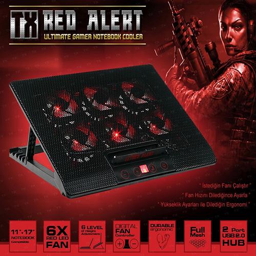 TX Red Alert TXACNBRED 11 - 17 Gaming Notebook Soğutucu / Stand Siyah 6 Kad. Yükseklik + 6* Led Fan