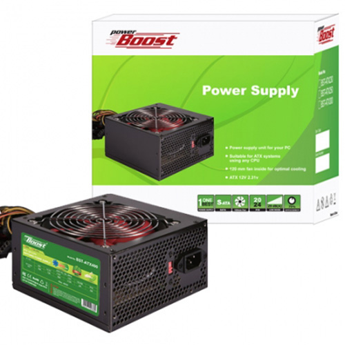 PowerBoost BST-ATX400R 400W Atx Power Supply 12 CM SİYAH FAN Kutu + Kablolu