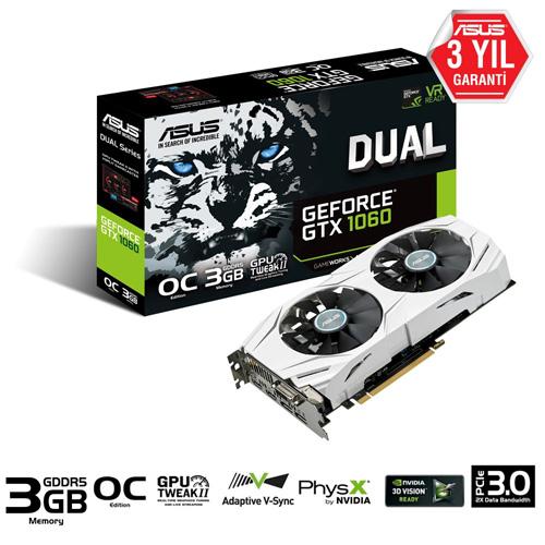 ASUS Nvidia 3GB GTX1060 DUAL O3G GDDR5 192 Bit DUAL-GTX1060-O3G 2XHDMI DVI 2xDP
