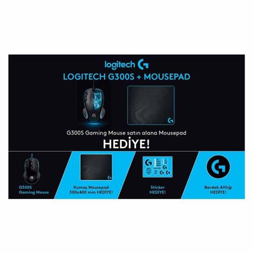 Logitech G300S Gaming Mouse + Gaming Mousepad Hediyeli **