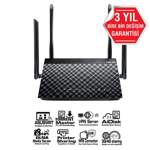 ASUS DSL-AC55U VDSL2/ADSL2+ Vpn Dual Wan Modem Router 3G/4G Destekli