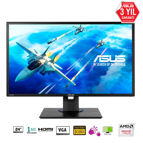 ASUS 24 VG245HE 1Ms 75Hz M.M 2 HDMI+ DSUB Full HD Led Monitör Siyah