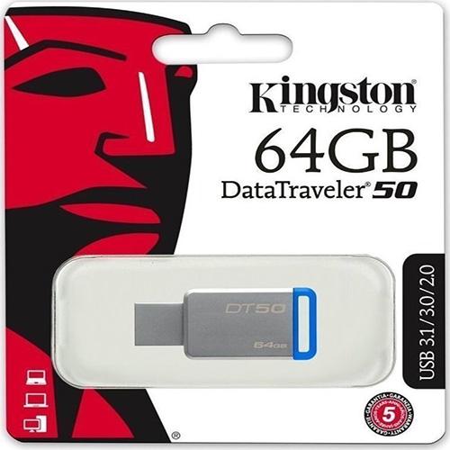 KINGSTON 64GB Metal Kasa USB 3.1 Flash Disk DT50/64GB