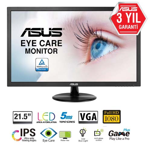 ASUS 21.5 VP228DE 5Ms 60Hz D-Sub Led Monitör Siyah