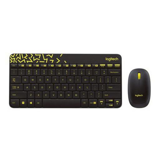 Logitech MK240 Q Kablosuz Usb Siyah/Sarı Multimedya Klavye/Mouse Set 920-008215