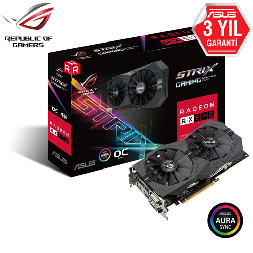 ASUS AMD 4GB RX 570 GDDR5 256 Bit ROG-STRIX-RX570-O4G-GAMING 2xDVI HDMI DP