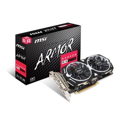 MSI AMD 4GB RX 570 ARMOR 4G OC GDDR5 256 Bit HDMI DL-DVI-D 3xDP