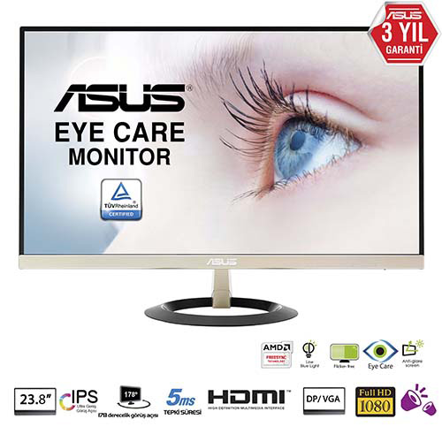 ASUS 24 VZ249Q 5Ms M.M D-Sub+HDMI+DP Full HD Led Monitör Siyah