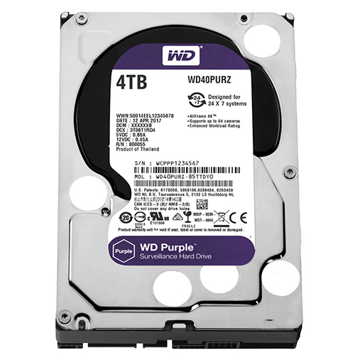 WD 3.5 PURPLE 4TB INTELLIPOWER 64MB SATA3 Güvenlik HDD WD40PURZ (7/24)