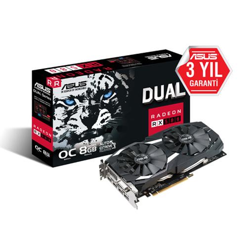 ASUS AMD 8GB RX 580 OC GDDR5 256 Bit DUAL-RX580-O8G 2xHDMI DVI 2xDP