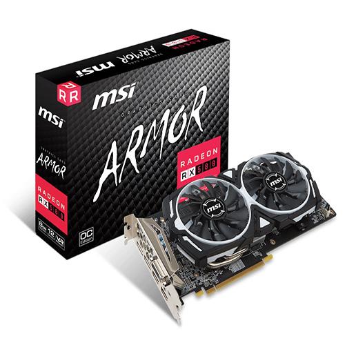 MSI AMD 8GB RADEON RX 580 ARMOR GP OC GDDR5 256 Bit 1XDVI 2XHDMI 2XDP