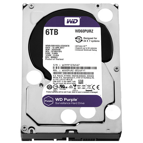 WD 3.5 PURPLE 6TB INTELLIPOWER 64MB SATA3 Güvenlik HDD WD60PURZ (7/24)