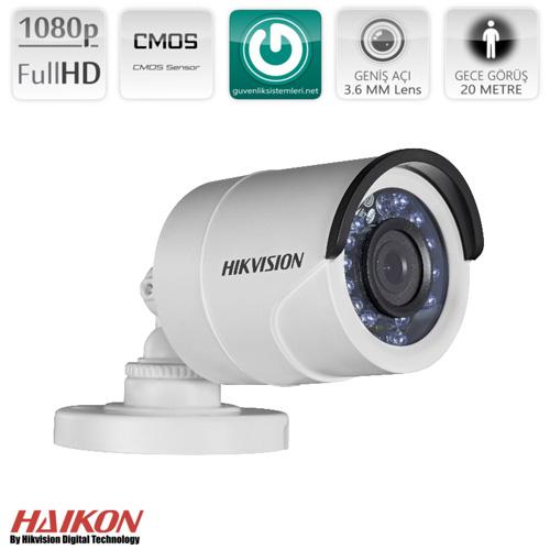 HIKVISION DS-2CE16D0T-IRF 1080P-2MP IR 20m Gece Görüş 3.6 mm Sabit Lensli TVI (AHD) Bullet Kamera (4in1)