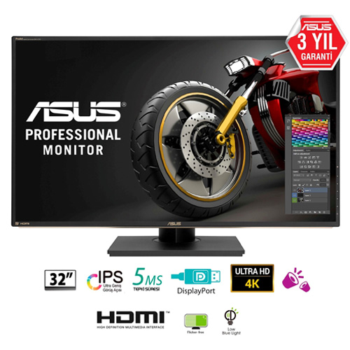 ASUS 32 PA329Q 5Ms 60Hz M.M HDMI+DP+MINI DP IPS LED Monitör Siyah