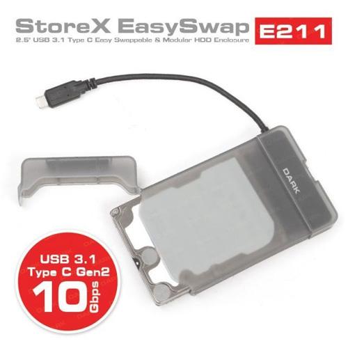 DARK 2.5 DK-AC-DSE211 Sata USB 3.1 (Gen2) Type-C Plastik Şeffaf Harddisk Kutusu