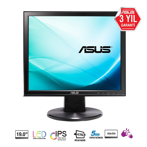 ASUS 19 VB199T 5Ms 60Hz D-SUB, DVI-D IPS LED Monitör Siyah