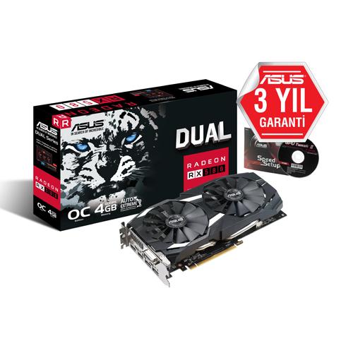 ASUS AMD 4GB RX 580 DUAL OC GDDR5 256 Bit DUAL-RX580-O4G 2xHDMI DVI-D 2xDP